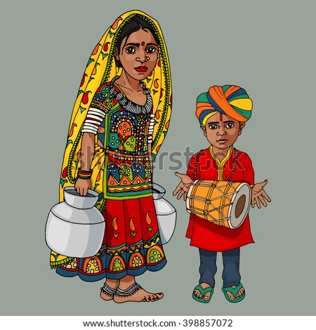 Indian girl and boy hand drawn colorful illustration - stock vector