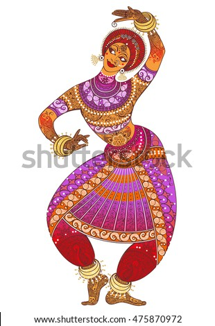 Indian girl dances in traditional costume. On a white background. Ornamented pattern.  sc 1 st  Shutterstock & Indian Girl Dances Traditional Costume On Stock Vector 475870972 ...