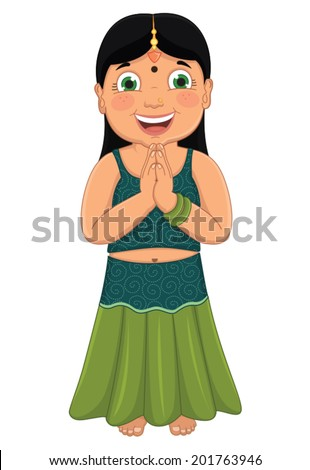 Indian Girl Vector Illustration - stock vector