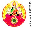 Indian goddess Durga - stock vector