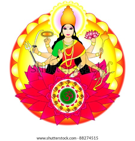 Indian goddess Durga - stock vector