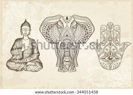 Indian Hand Drawn Hamsa With All Seeing Eye Elephant And Sitting Buddha Arabic