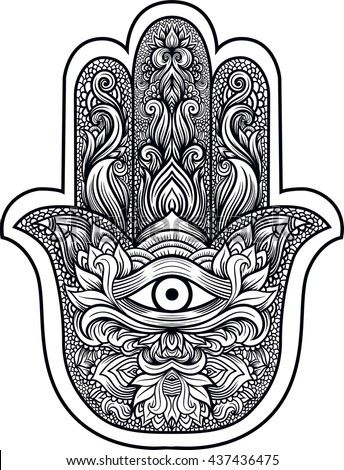 indian hand hamsa hand fatima third stock vector 437436475 shutterstock. Black Bedroom Furniture Sets. Home Design Ideas