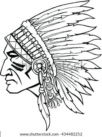 Indian Head Mascot Native American With Headdress