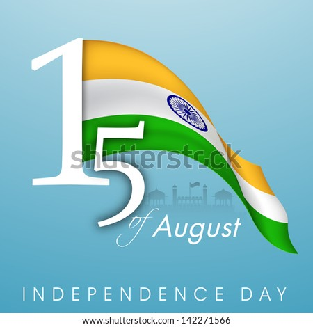 Indian Independence Day background with text 15th of August and waving national flag - stock vector