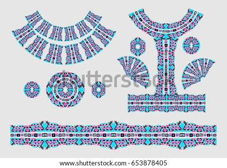 Indian Jewel Embroidery On Fabric Ethnic Stock Vector 653878405