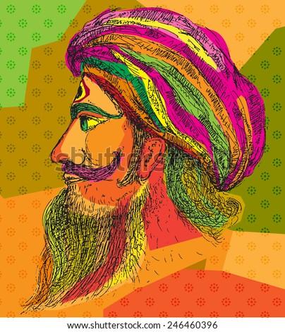 Indian man colour - stock vector