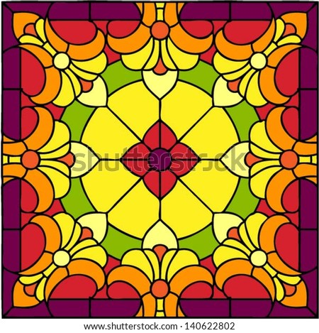 Indian motif - Sunny flowers, symmetric composition, seamless background, vector illustrations in stained glass window - stock vector