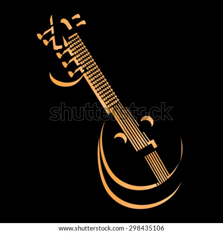 Indian music instrument, Sitar, icon