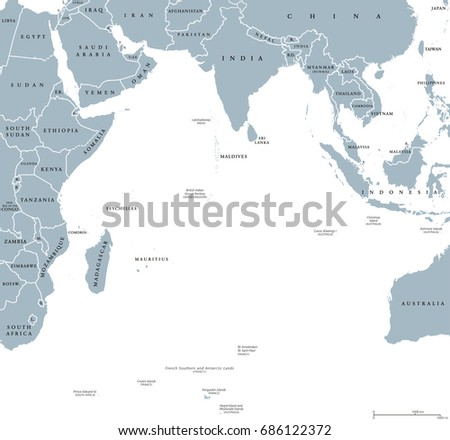 indian ocean political map with countries and borders english labeling bounded by asia