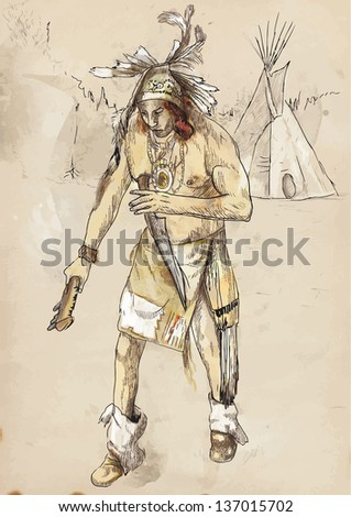 Indian on the warpath (dug battle-axe) /// A hand drawn illustration converted into vector. - stock vector