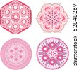 Indian ornament, kaleidoscopic floral pattern, mandala. Set of four ornament lace. - stock vector