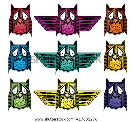 indian ornamental ethnic style owl vector illustration  - stock vector