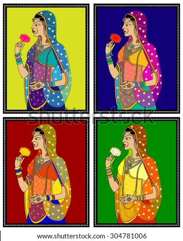 Indian Queen/ princess portrait -inspired by 16th century India Rajput and Mughal style of art. - stock vector
