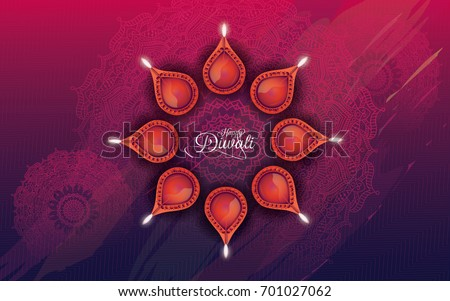 Indian Religious Festival Diwali Background with Lamps