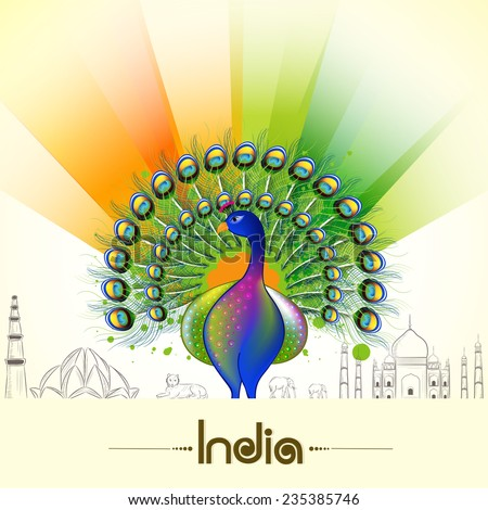 Indian Republic Day and Independence Day celebrations with National Bird Peacock, animals and famous monuments on flag colors background .  - stock vector