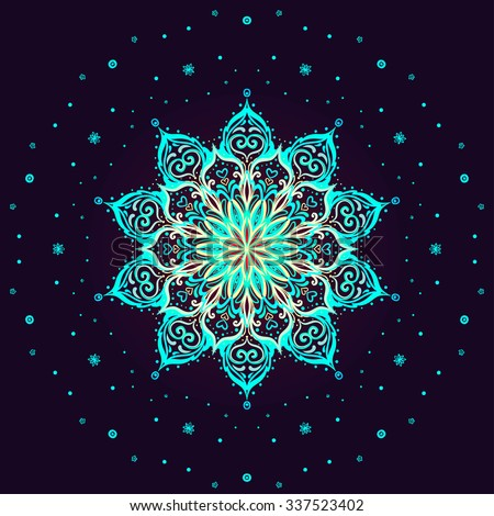 Indian round lace ornament mandala. Christmas snowflake symbol. Vintage vector pattern isolated on black. Hand drawn abstract background. Invitation, wedding card, scrapbooking. Tattoo floral element. - stock vector