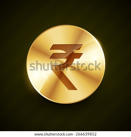 indian rupee gold coin with shiny effects vector illustration - stock vector