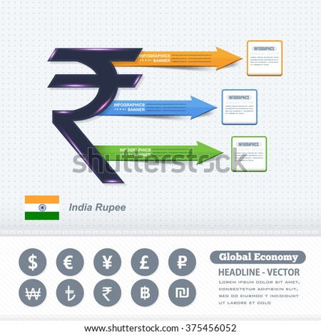 Indian Rupees Symbol, Business Infographics Design, Colorful Arrows