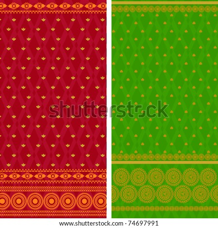 Indian Sari Borders, very detailed and easily editable. - stock vector