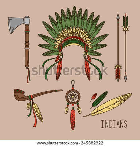 Indian set - stock vector