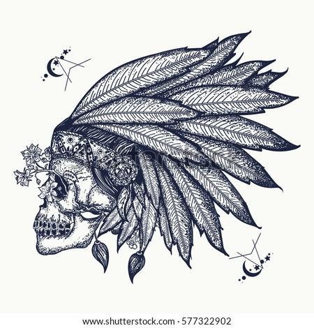 M Rank Indian Skull Tattoo Art