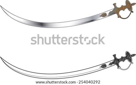 Indian talwar sword - stock vector