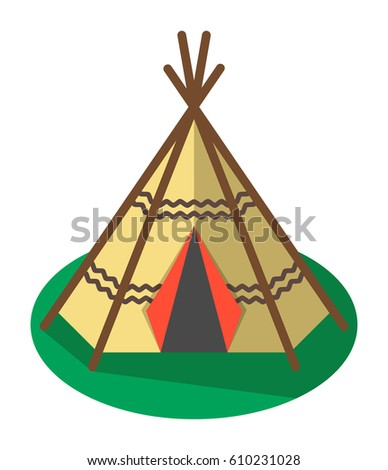 Indian traditional tent icon isolated on white background vector illustration. C&site equipment in flat design  sc 1 st  Shutterstock & Indian Traditional Tent Icon Isolated On Stock Vector 610231028 ...