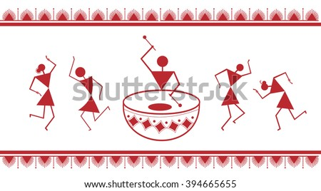 Indian tribal painting warli painting stock vector 2018 394665655 indian tribal painting warli painting altavistaventures Gallery