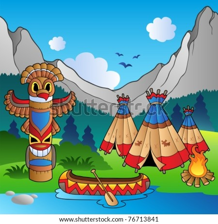 Indian village with totem and canoe - vector illustration. - stock vector
