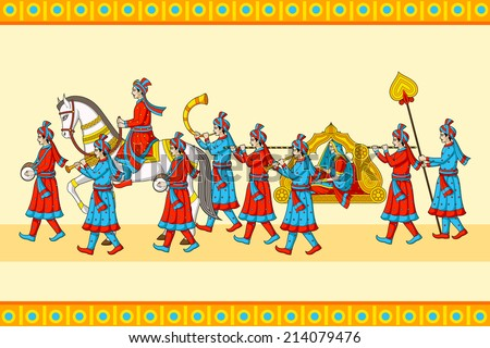 Indian wedding baraat ceremony in vector - stock vector