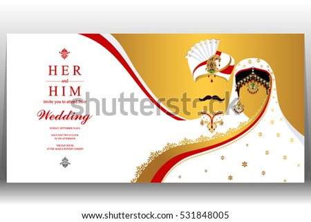 indian wedding card gold crystals color stock vector 531848005