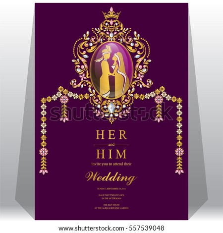Indian wedding invitation card templates gold stock vector 557539048 indian wedding invitation card templates with gold patterned and crystals on paper color stopboris Images