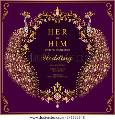 Indian Wedding Invitation Card Templates Gold Stock Vector 2018