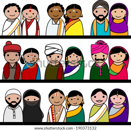 Indian women and men vector avatar illustration - Indian couple representing different states/religions of India. - stock vector