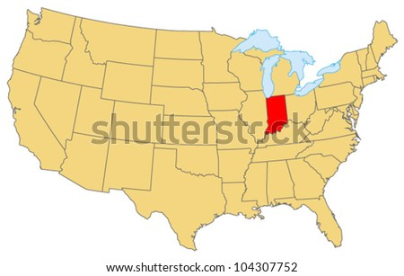 Indiana Locate Map - stock vector