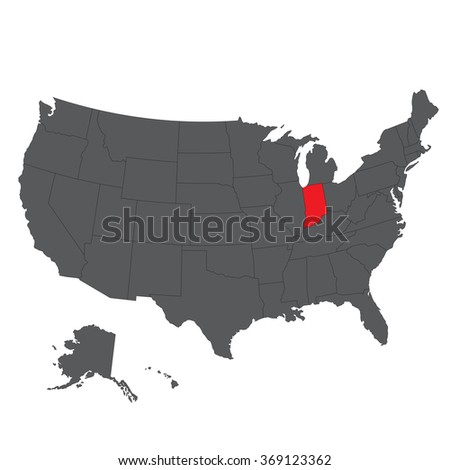 Indiana red map on gray USA map vector - stock vector