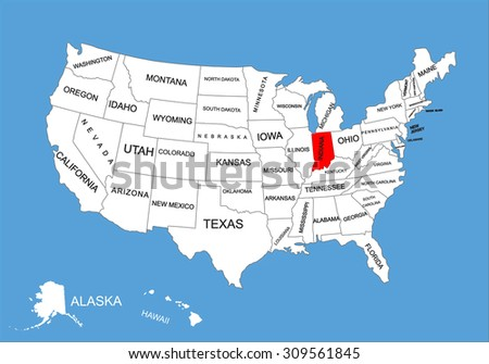 Indiana State Usa Vector Map Isolated Stock Vector - Indiana in us map