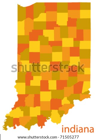 indiana state vector map - stock vector