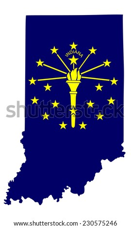 Indiana vector map and flag isolated on white background. High detailed blue silhouette illustration. Original and simple Indiana state flag isolated vector in official colors and proportion correctly - stock vector