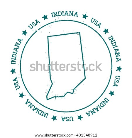 Indiana Vector Map Retro Vintage Insignia With Us State Map Distressed Visa Stamp With