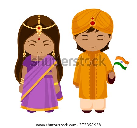 Indians in national dress with a flag. A man and a woman in traditional costume  sc 1 st  Shutterstock & Indians National Dress Flag Man Woman Stock Vector 373358638 ...