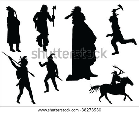indians silhouette vector collection - stock vector