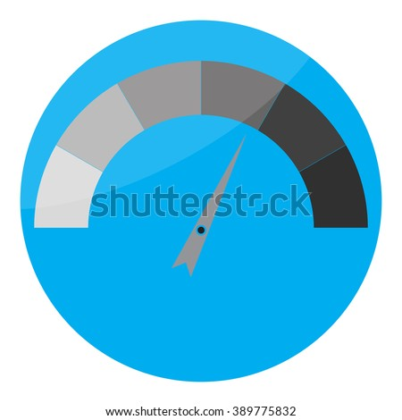 Indicator spectrum glossy icon. Tachometer with arrow needle, measurement spectrum, pointer indicator, panel meter instrument. Vector abstract flat design illustration - stock vector