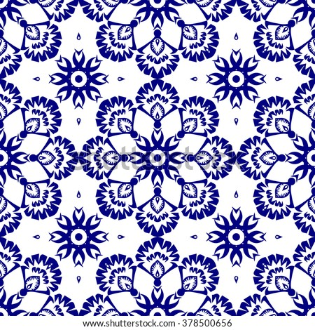 Indigo blue on white background with abstract seamless floral pattern in vector. Abstract wallpaper with oriental ornament elements of nature. Delicate lacy texture style design.  - stock vector