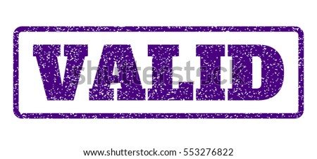 Indigo Blue rubber seal stamp with Valid text. Vector message inside rounded rectangular frame. Grunge design and scratched texture for watermark labels. Horizontal sticker on a white background.