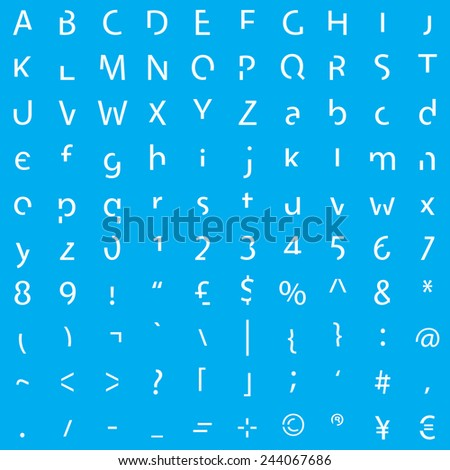 Individual Alphabet Characters of a Custom Font - Elements - stock vector