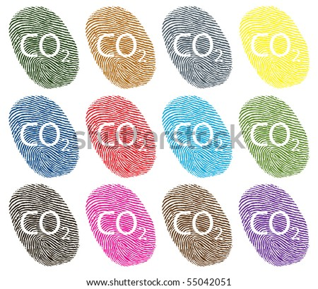 individual carbon fingerprint in different colors - stock vector