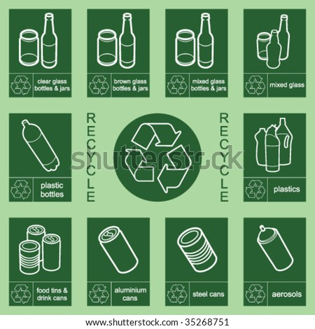 Individually layered recycling sign collection 1 - stock vector