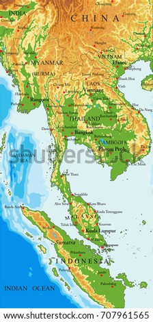 Indochina Physical Map Stock Vector 707961565 Shutterstock